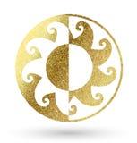 Golden sun logo. Golden bright sun logo on white royalty free illustration