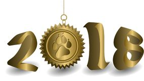 Golden 3D 2018 year figures on a white background. The golden sun with the print of the dog`s paw is suspended. New year card template Royalty Free Stock Images