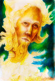 Golden Sun prophet of the feather realm, a spiritual man face. A fantasy detailed drawing of elven man creature of gold and feathers and sunny descent, a royalty free illustration