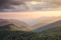 Golden Sun Rays Blue Ridge Parkway NC. Blue Ridge Parkway Light Rays Asheville North Carolina Stock Image