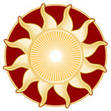 Golden Sun, Red Background Stock Images