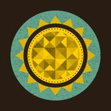 Golden sun in retro style with triangles. Royalty Free Stock Images
