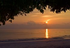 Golden Sun Rising at Horizon over Ocean with Warm Sky under Dark Shade of Tree - Kalapathar Beach, Havelock Island, Andaman, India. This is a photograph of stock photography
