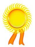 Golden sun seal,  on white background Stock Image