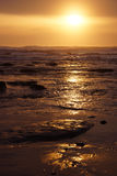 Golden sun setting on the Pacific Ocean Royalty Free Stock Images