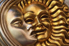 Golden sun silver moon mask Stock Photo