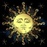 Golden sun and stars vector illustration. Hand drawn boho style fabric design  Royalty Free Stock Image