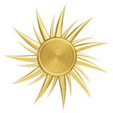 Golden sun symbol isolated on white stock illustration