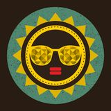 Golden sun with woman face in retro style. Royalty Free Stock Images