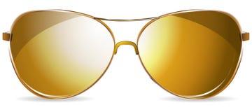Golden sunglasses Stock Images
