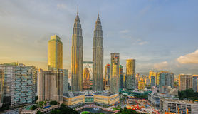 Golden Sunlight at Petronas Twin Towers Stock Photography