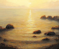 Golden Sunrise. An oil painting on canvas of a early morning golden sunrise with shining sun path on the calm and peaceful sea surface in the summer Stock Images