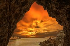 Golden sunrise in Begur, Costa brava, Girona stock photos