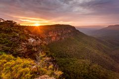 Golden sunrise Blue Mountains Australia stock photography