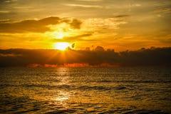 Golden sunrise of the coast of thailand Royalty Free Stock Photos