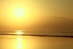 Golden sunrise of the Dead Sea Royalty Free Stock Image