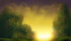 Golden Sunrise - Digital Painting. Illustration of a bright yellow sunrise over lush green trees Stock Photography