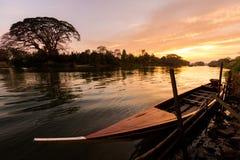 Golden sunrise on Don Det. Beautiful golden sunrise on Don Det in south Laos. Landscape of nature taken on four thousands islands Si Phan Don on Mekhong river in royalty free stock photos