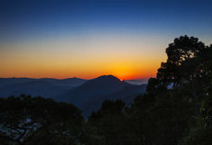 Golden sunrise. Sunrise in the hilly area of  india during the month of november Royalty Free Stock Image