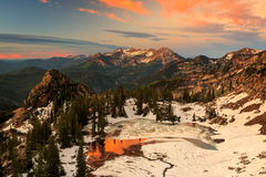 Golden sunrise landscape in the Wasatch Mountains. Royalty Free Stock Images