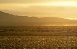 Golden Sunrise Light on Fields Royalty Free Stock Image