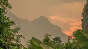 Golden Sunrise at Limestone Mountain Tropical Area Timelapse. Khao Sok, Thailand. Shot with a Sony a6300 fps29,97 4k stock video