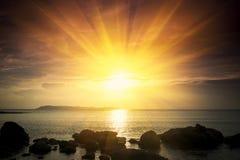 Golden sunrise. In the ocean Stock Photo