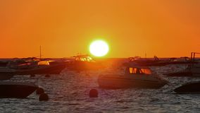 Golden Sunrise over the Mediterranean Sea with Boats stock video footage