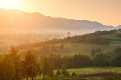 Golden sunrise over the mountains, beautiful summer landscape royalty free stock image