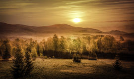 Golden sunrise. Over mountains somewhere in eastern Europe Royalty Free Stock Image