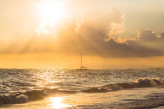 Golden sunrise over ocean, Dominican Republic Royalty Free Stock Photos