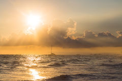 Golden sunrise over ocean on Dominican Republic Stock Photo