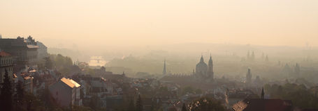 Golden sunrise over Prague. Royalty Free Stock Image