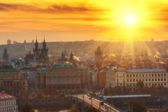 Golden sunrise over Prague old town stock images