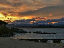 Golden sunrise. At Santander Bay (Spain Stock Images