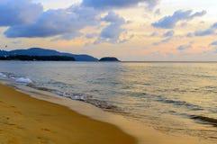 Golden sunrise sunset over the sea ocean waves Royalty Free Stock Photo