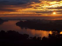 Golden sunrise on the Vistula. A beautiful, natural sunrise over the Vistula River near the city of Swiecie Royalty Free Stock Images