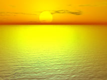Golden Sunset. Surreal golden sunset at the sea Stock Photos