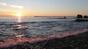 Golden sunset above the black sea stock video