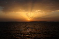 Golden sunset. Amazing golden sunset in the sea Royalty Free Stock Photography