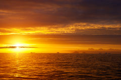 Golden sunset in antarctic sea. Stock Image