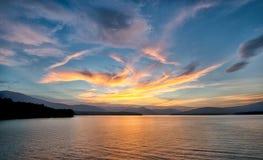 Golden Sunset at the Ashokan Reservoir in New York. Stock Photos