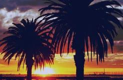 Golden Sunset, Australia. Sun setting over the ocean at St Kilda Pier, Melbourne, Australia Stock Image