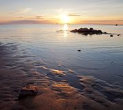 Golden sunset on the Baltic sea Royalty Free Stock Images