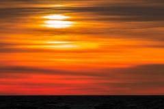 Golden sunset at Baltic sea. Riga, Latvia Stock Photo