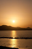 Golden sunset at the beach Royalty Free Stock Photography