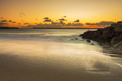 Golden sunset on the beach Royalty Free Stock Photography