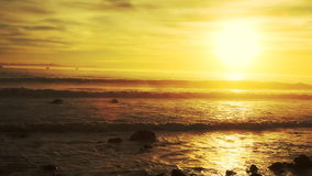 Golden Sunset at Beach in California stock video footage