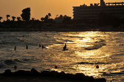 Golden Sunset Beach Silhouette Stock Photo
