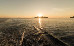 Golden sunset from the boat Stock Image